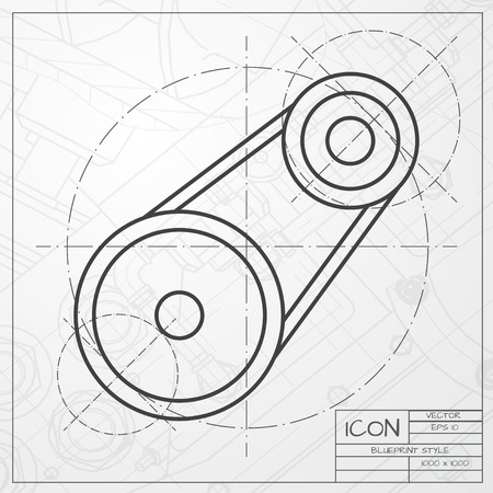 timing belt: Vector classic blueprint of belt drive icon on engineer and architect background