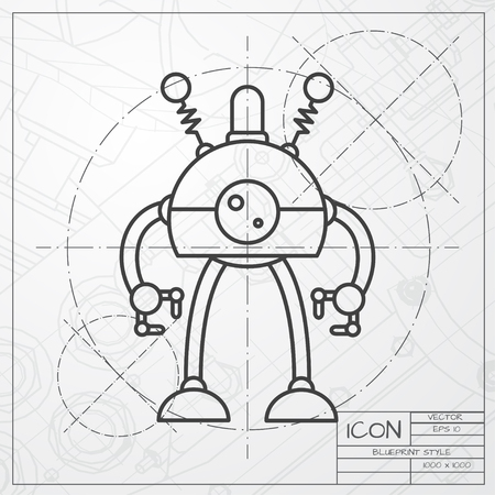 retro robot: Vector classic blueprint of retro robot toy icon on engineer and architect background Illustration