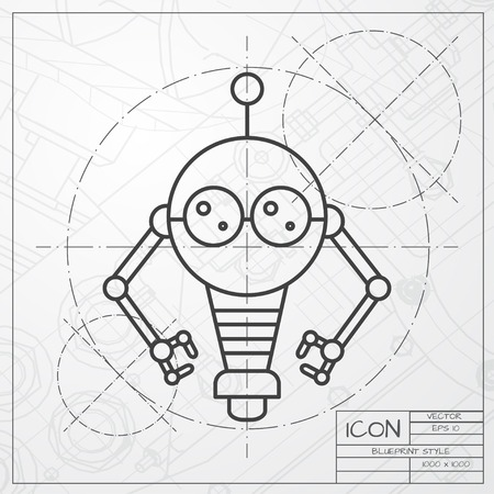 robot toy: Vector classic blueprint of retro robot toy icon on engineer and architect background Illustration