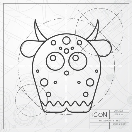 monster: Vector classic blueprint of dinosaur monster icon on engineer and architect background Illustration