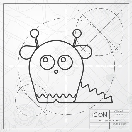 classic monster: Vector classic blueprint of dinosaur monster icon on engineer and architect background Illustration