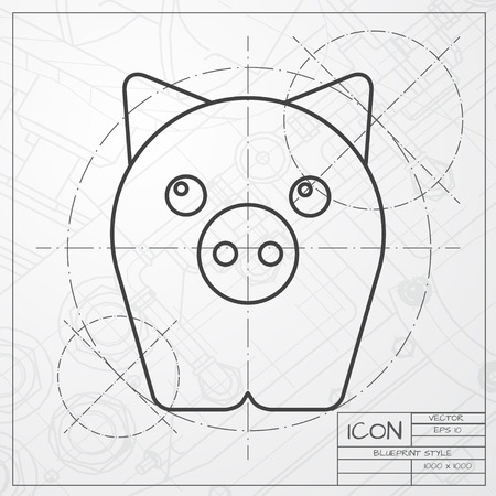 oink: Vector classic blueprint of pig icon on engineer and architect background