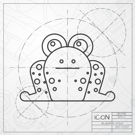 croak: Vector classic blueprint of frog icon on engineer and architect background