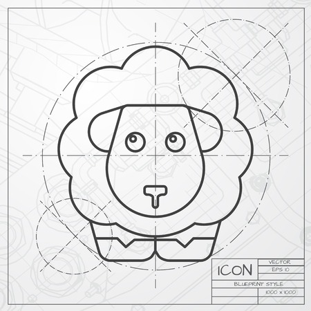 Vector classic blueprint of sheep icon on engineer and architect background