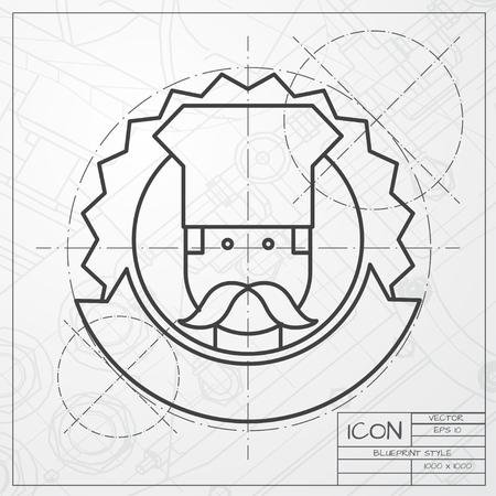 chef caricatura: Vector clásico modelo de cocinero icono emblema chois el ingeniero y arquitecto fondo