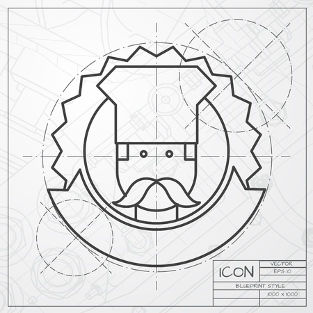 chef cartoon: Vector classic blueprint of chef cook chois emblem icon on engineer and architect background
