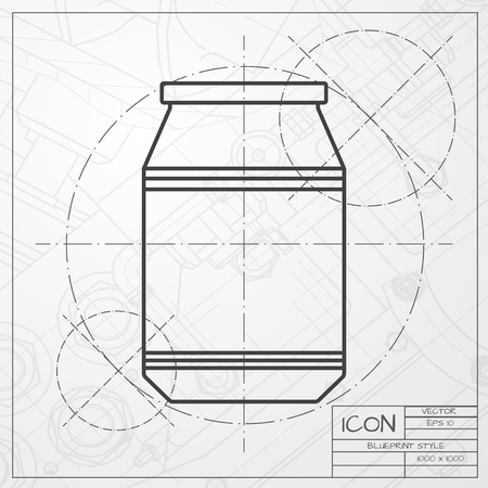 unlabeled: Vector classic blueprint of kitchen bottle template on engineer and architect background