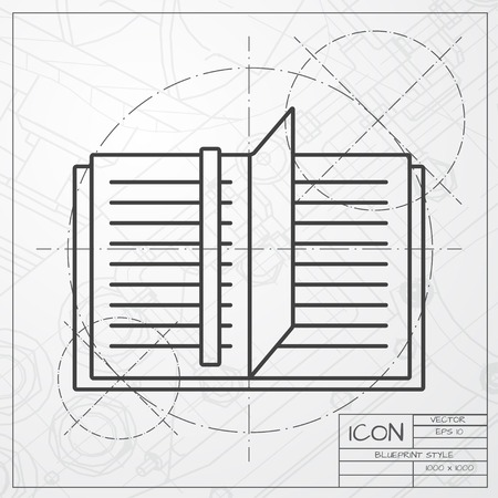 periodicals: Vector classic blueprint of notebook icon on engineer and architect background