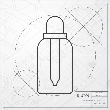 tincture: Vector classic blueprint of dropper bottle on engineer and architect background. Health icon Illustration