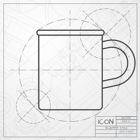 Vector hand drawn cup for tea or coffee icon on copybook royalty vector classic blueprint of cup for tea or coffee icon on engineer and architect background vector malvernweather Choice Image