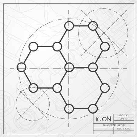 graphene: Vector classic blueprint of graphene icon on engineer and architect background . Science illustration