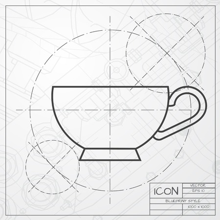 dine: Vector classic blueprint of cup for tea or coffee icon on engineer and architect background