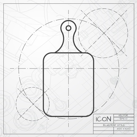 cook out: Vector classic blueprint of kitchen board icon on engineer and architect background