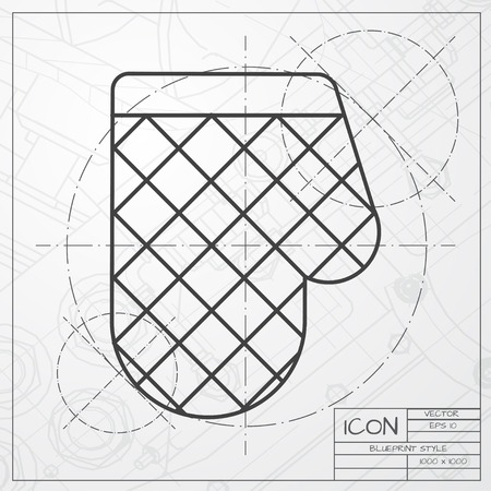 profiting: Vector classic blueprint of kitchen glove and potholder on engineer and architect background