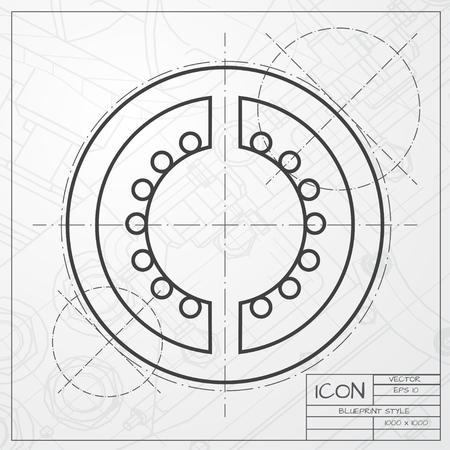 tomato slice: Vector classic blueprint of tomato slice icon on engineer and architect background Illustration