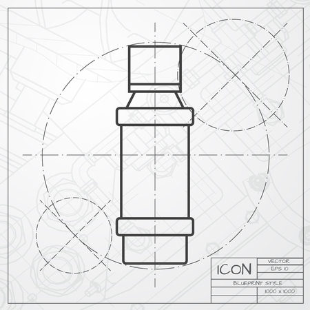 flavoring: Vector classic blueprint of flavoring bottle on engineer and architect background . Kitchen icon