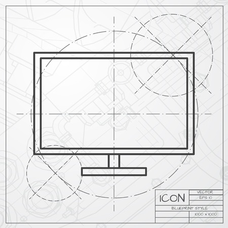 Vector classic blueprint of TV or monitor icon on engineer and architect background