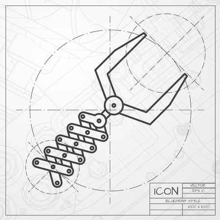 tools construction: Vector classic blueprint of robot hand icon on engineer and architect background