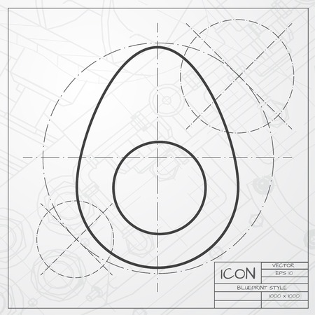 Vector classic blueprint of egg icon on engineer and architect background