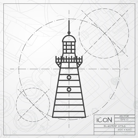 Vector blueprint lighthouse icon on engineer or architect background 46146168 vector classic blueprint of lighthouse icon on engineer and architect background malvernweather Images