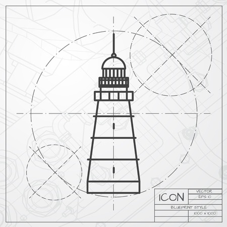 lighthouse keeper: Vector classic blueprint of lighthouse icon on engineer and architect background