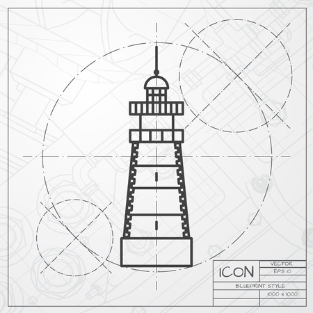 hope symbol of light: Vector classic blueprint of lighthouse icon on engineer and architect background