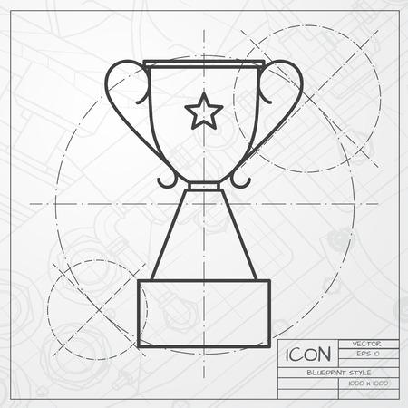 ganador: Vector clásico modelo de icono copa trofeo el ingeniero y arquitecto fondo. Ganador