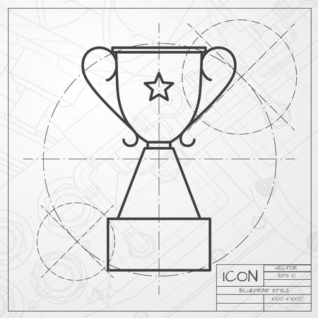 winner: Vector classic blueprint of trophy goblet icon on engineer and architect background . Winner award