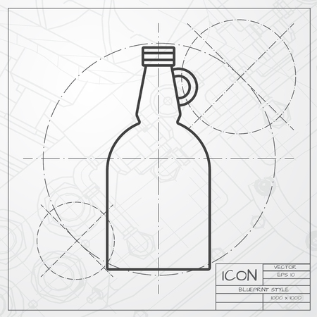 Flat art of apple cider vinegar bottle concept editable clip vector classic blueprint of vinegar bottle template on engineer and architect background vector malvernweather Gallery