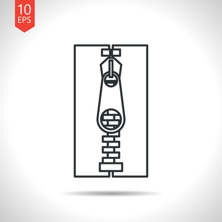 unzip: Vector outline classic grey tailor zipper icon on white background