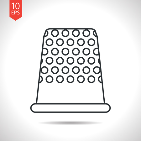 thimble: Vector outline classic grey tailor thimble for finger icon on white background