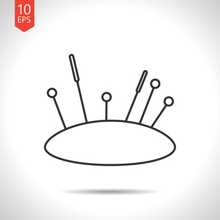 large group of items: Vector outline classic grey tailor pins and needles icon on white background
