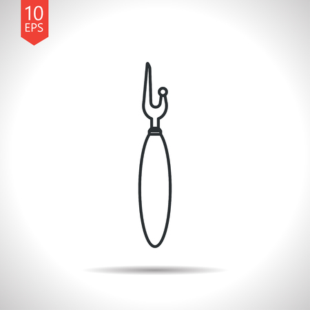 ripper: Vector outline classic grey tailor seam ripper icon on white background Illustration