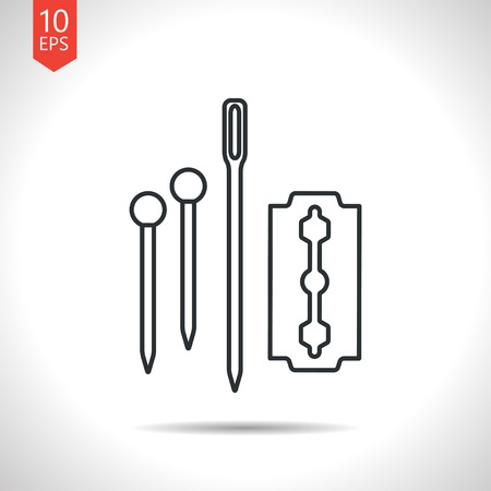 cuff links: Vector outline classic grey tailor pins needle blade icon on white background Illustration