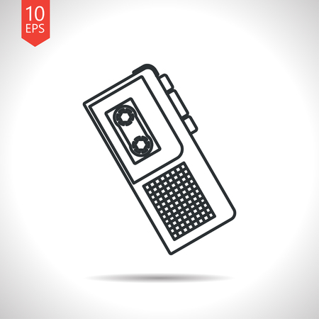 Vector outline classic grey retro dictaphone icon on white background Illustration