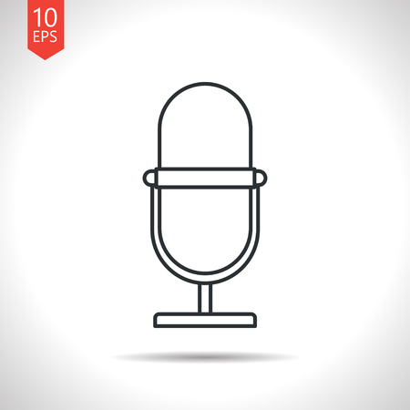 Vector outline classic grey retro microphone icon on white background