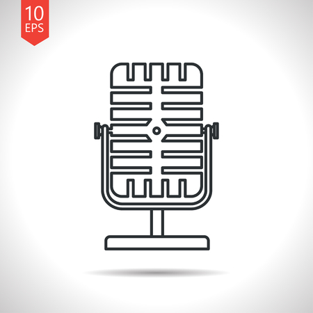 oldie: Vector outline classic grey retro microphone icon on white background
