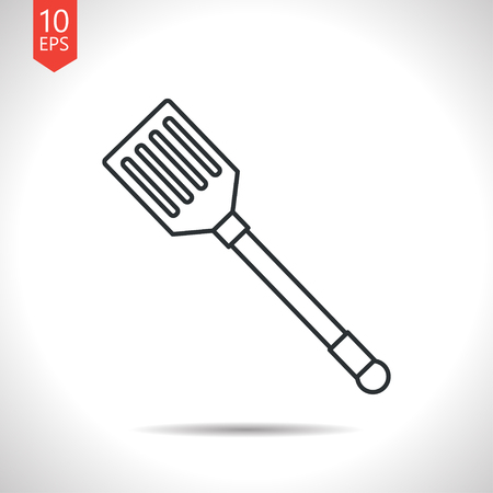 ease: Vector outline classic grey kitchen spatula icon on white background