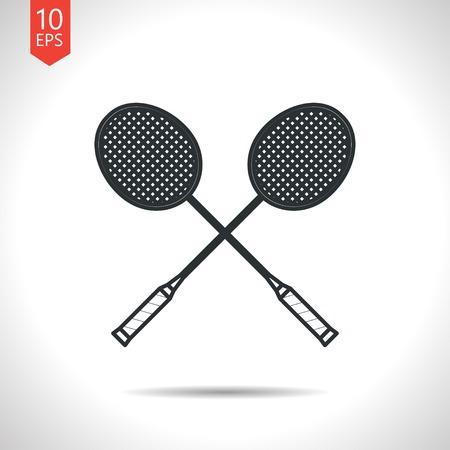 badminton sport symbol: Vector outline classic grey badminton icon on white background Illustration