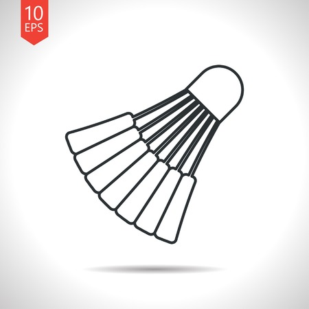 cross match: Vector outline classic grey simple badminton icon on white background