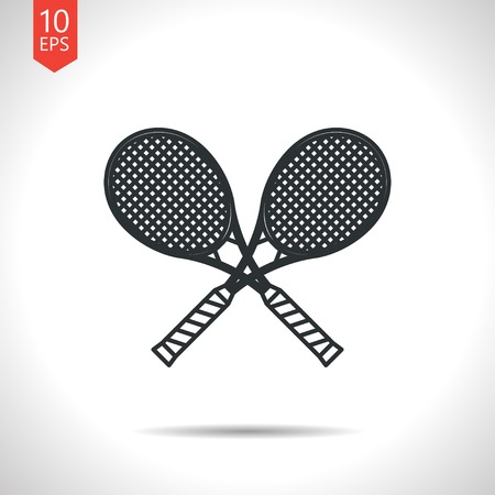 Vector outline classic grey tennis rackets icon on white background