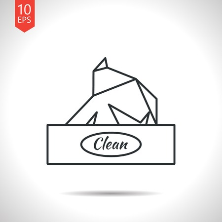soft tissues: Vector outline classic grey box with napkin on white background
