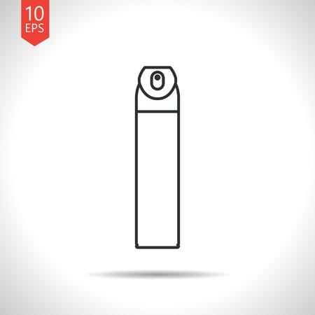 aerosol: Vector outline classic grey air freshener aerosol bottle on white background
