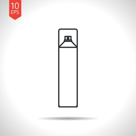 freshener: Vector outline classic grey air freshener aerosol bottle on white background