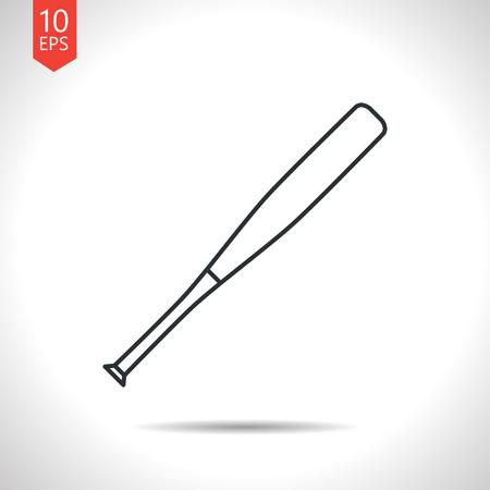 homerun: Vector outline classic grey baseball bat icon on white background