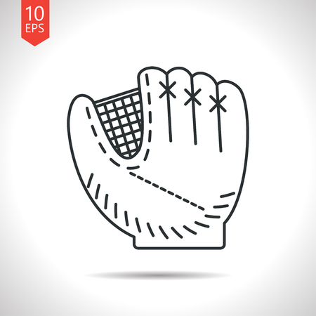 cowhide: Vector outline classic grey baseball glove icon on white background