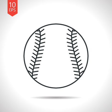sphere base: Vector outline classic grey baseball icon on white background