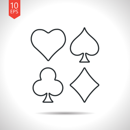 black jack: Vector outline classic grey game casino cards suit icon on white background