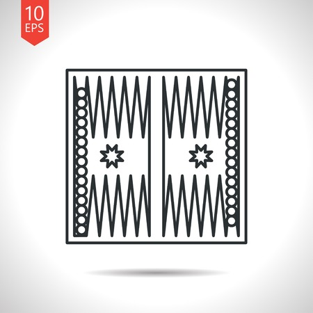 backgammon: Vector outline classic grey backgammon table with dices icon on white background