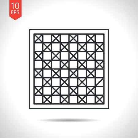 checkers: Vector outline classic grey checkers board icon on white background